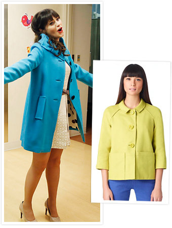 Found It via Possessionista! Zooey Deschanel's Blue Bow-Embellished Kate Spade Coat on New Girl