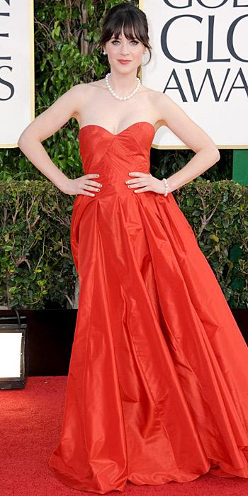 Zooey Deschanel in an Oscar de la Renta gown