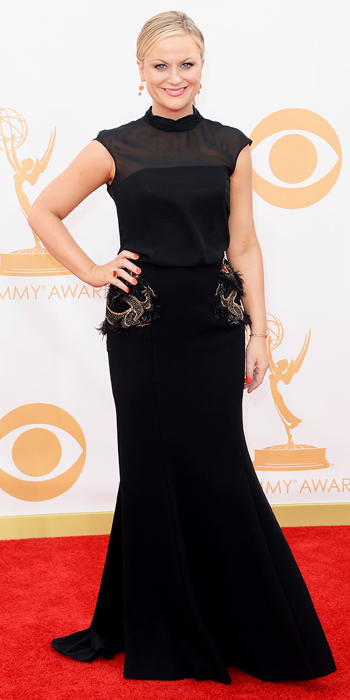Amy Poehler in Brian Rennie for Basler, and Irene Neuwirth jewelry.