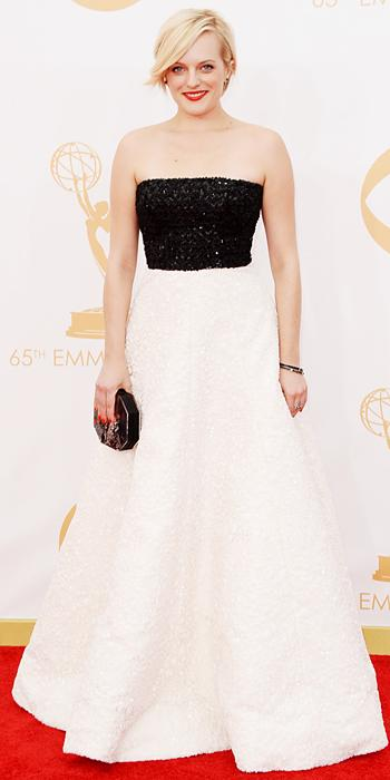 Elisabeth Moss in Andrew Gn and Neil Lane jewelry