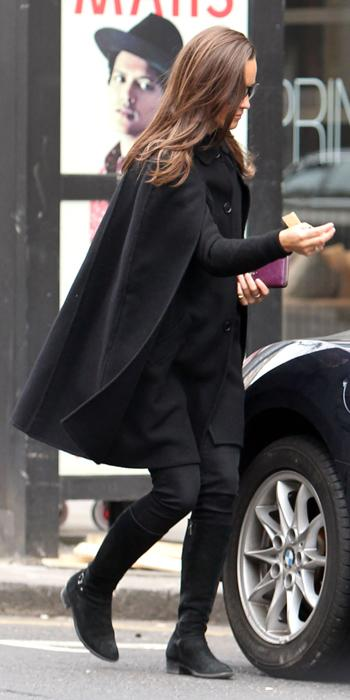 Pippa Best Outfits - onyx cape from MaxStudio