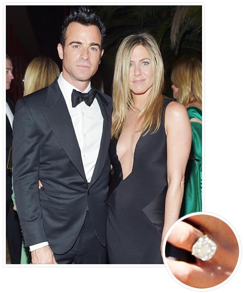 Biggest Celebrity Engagement Rings - Jennifer Aniston and Justin Theroux