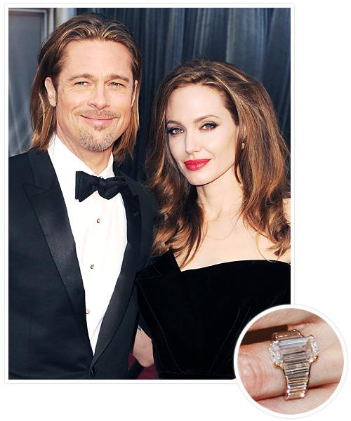 Biggest Celebrity Engagement Rings - Angelina Jolie and Brad Pitt