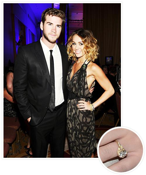 Biggest Celebrity Engagement Rings - Miley Cyrus and Liam Hemsworth
