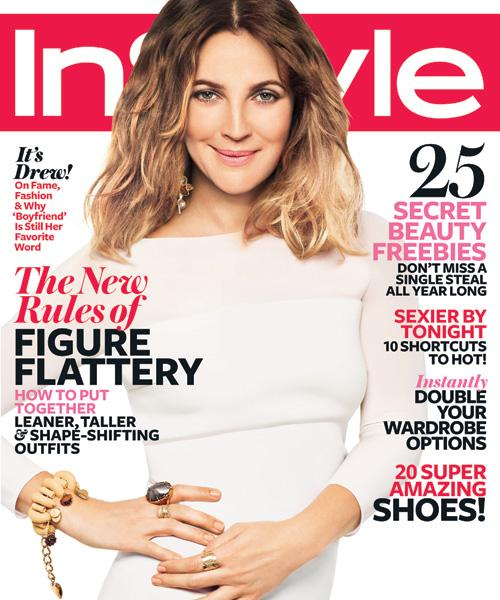 InStyle Covers - February 2012, Drew Barrymore