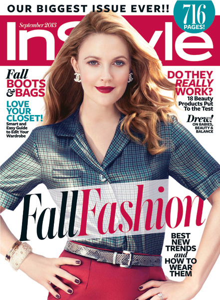 InStyle Covers - September 2013, Drew Barrymore