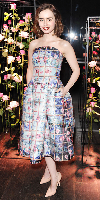 Lily Collins in Mary Katrantzou