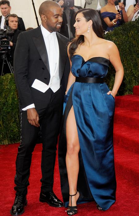 Kim Kardashian wears blue Lanvin strapless dress at 2014 Met Gala with Kanye West