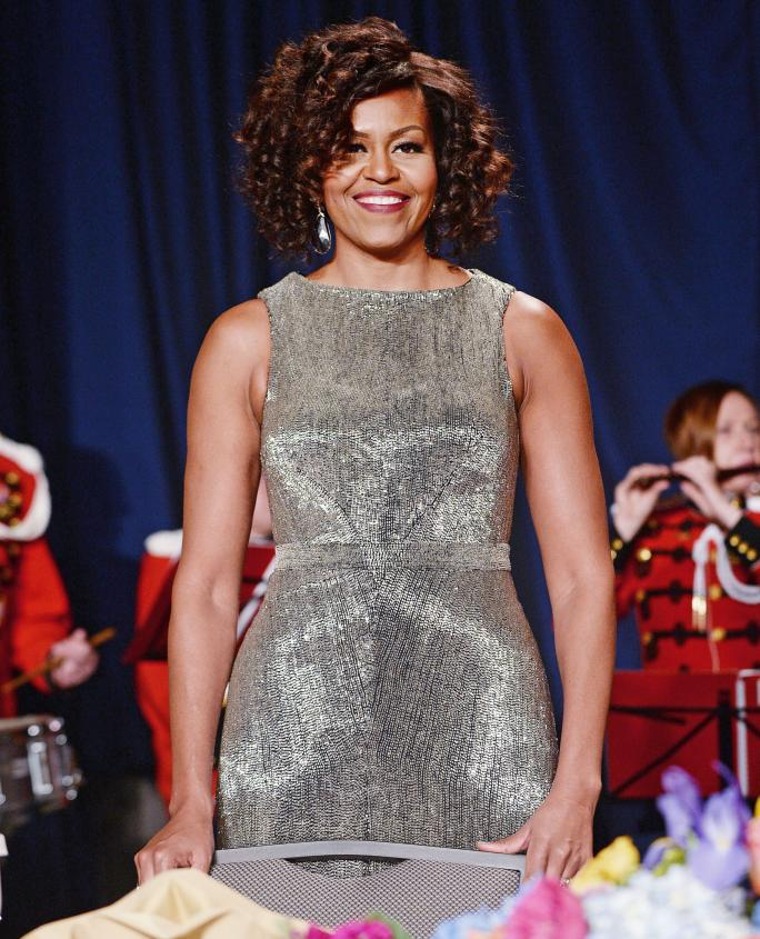 Michelle Obama Dazzles in Custom Zac Posen at the 2015 White House Correspondents' Dinner
