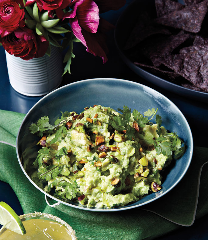<p>FOR THE SLIGHTLY ADVENTUROUS: Guacamole and Pistachio Dip</p>