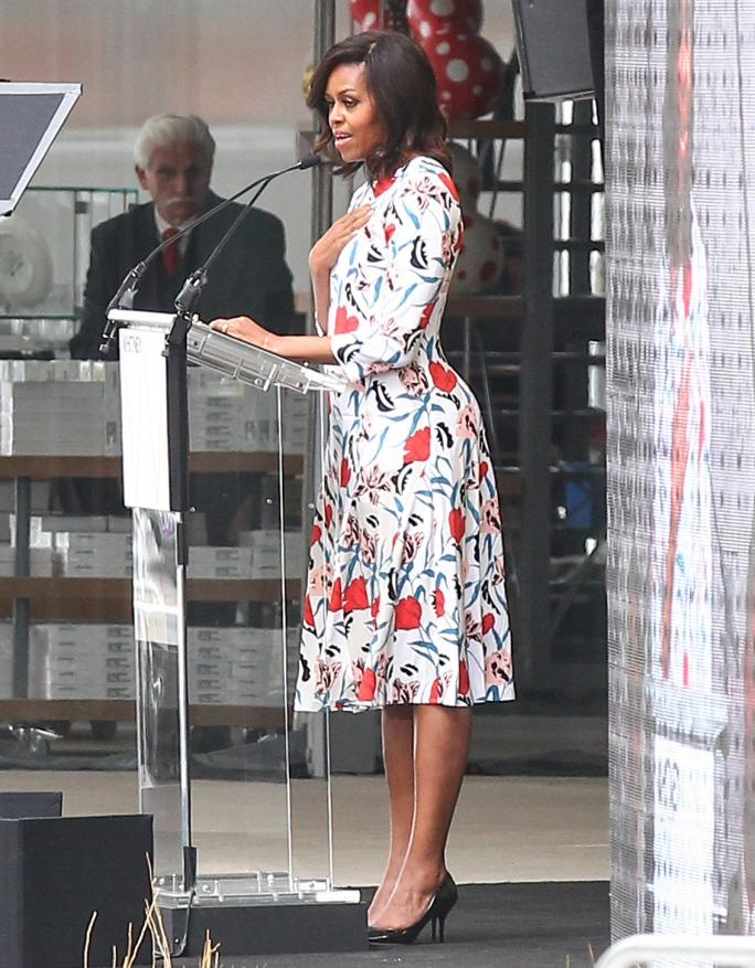 Michelle Obama speaks at the opening of the new Whitney Museum