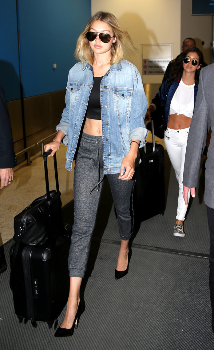 Gigi Hadid Rocks Sweatpants and Heels at the Airport