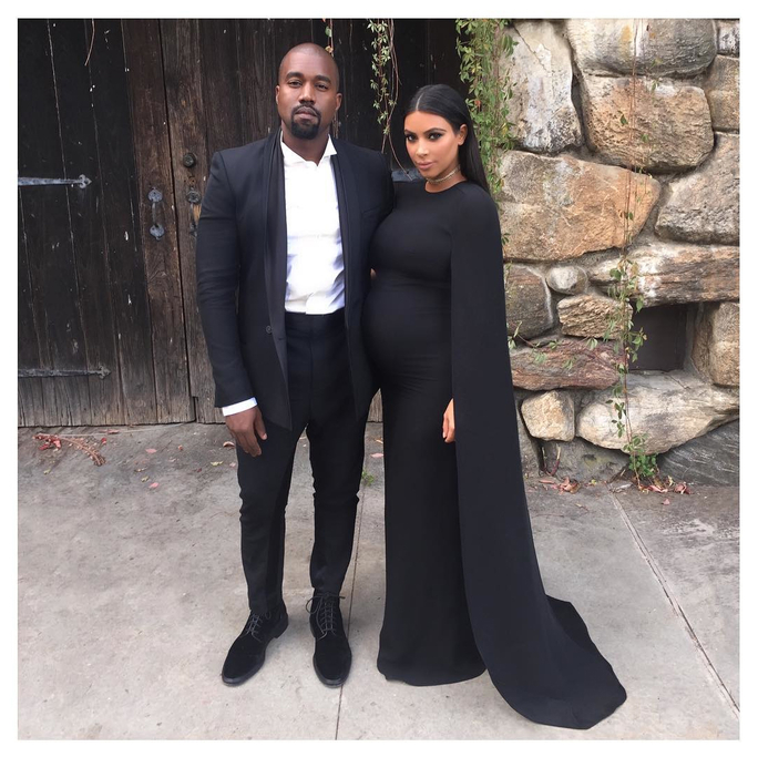 Kim Kardashian and Kanye West Attend a Friend's Wedding in Matching Black Looks