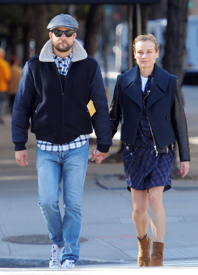 Joshua Jackson and Diane Kruger Prove They are Mad for Plaid in Coordinating Outfits