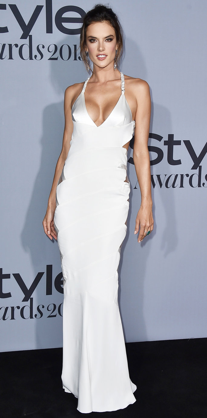 Alessandra Ambrosio arrives at the inaugural InStyle Awards at The Getty Center on Monday, Oct. 26, 2015, in Los Angeles. (Photo by Jordan Strauss/Invision/AP)