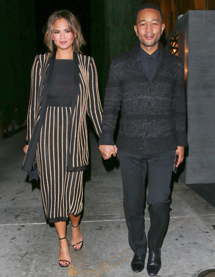 Chrissy Teigen Dresses Her Baby Bump in Stripes for a Date Night With John Legend