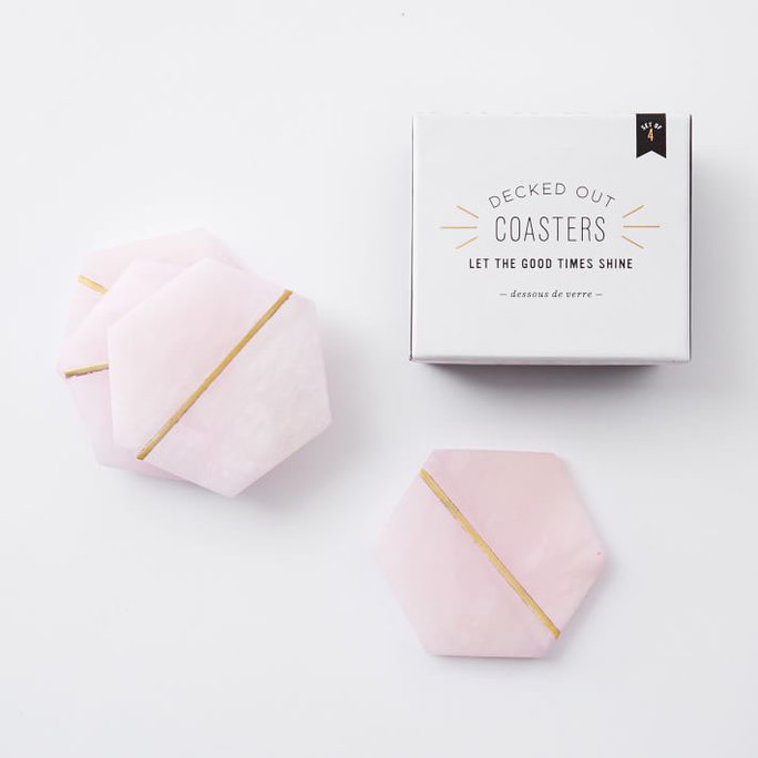 West Elm Pink Stone Coasters