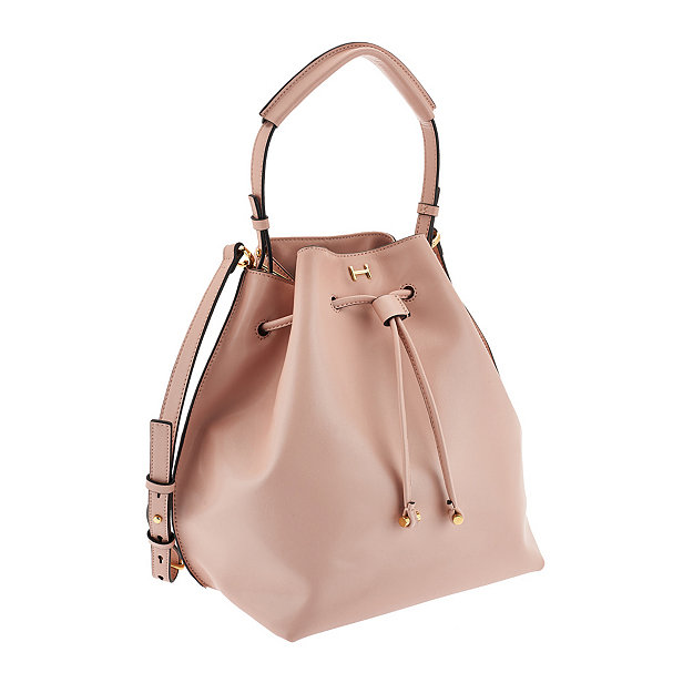 H BY HALSTON LEATHER BUCKET BAG