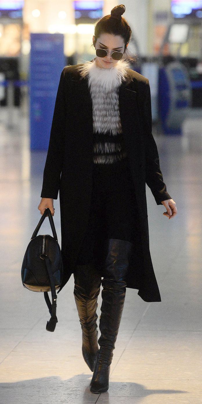 Kendall Jenner is seen arriving at London Heathrow Airport. (London, England, UK)