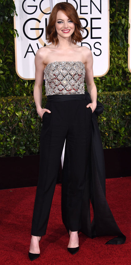 """Emma Stone's Globes Makeup: """"She Didn't Wear a Traditional Gown So We Wanted It to Be Playful and Coquettish"""""""