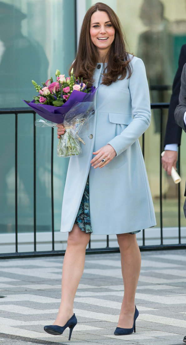 Kate Middleton Covers Baby Bump in Florals, Blue Coat ...