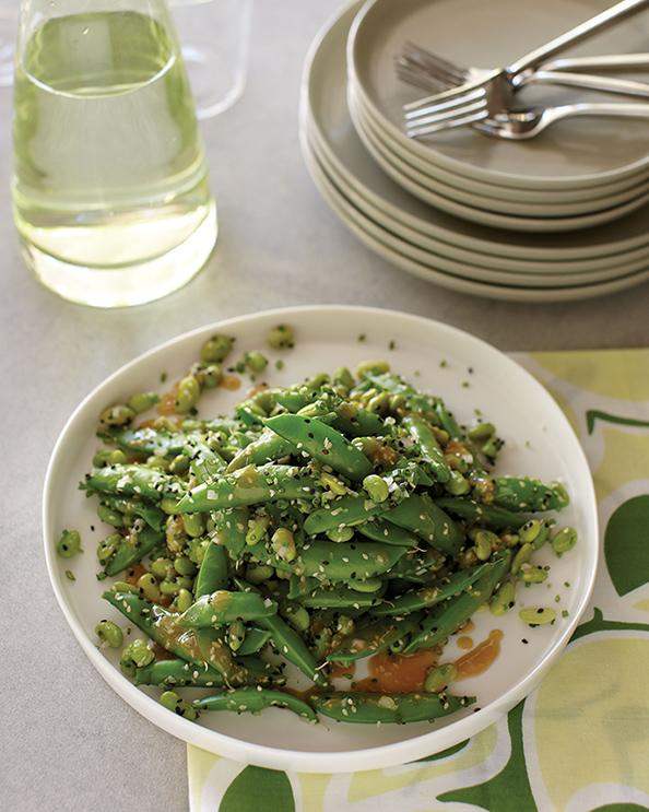 Edamame and Snap Peas in Seasame Vinaigrette Recipe from Lemonade