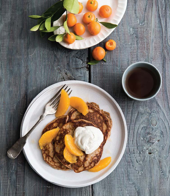 PANCAKES WITH ORANGE-VANILLA WHIPPED CREAM