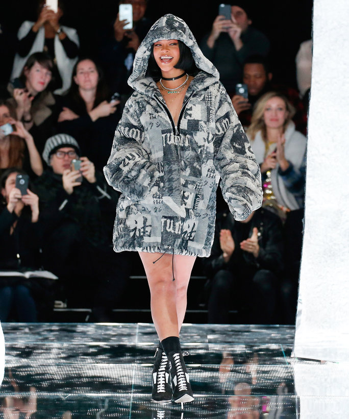 Rihanna walks the runway at the FENTY PUMA by Rihanna AW16 Collection during Fall 2016 New York Fashion Week at 23 Wall Street on February 12, 2016 in New York City.