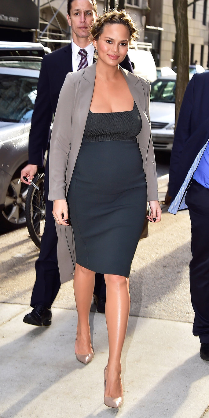 Chrissy Teigen's Maternity Style Just Won't Quit on Whirlwind Press Tour in N.Y.C.