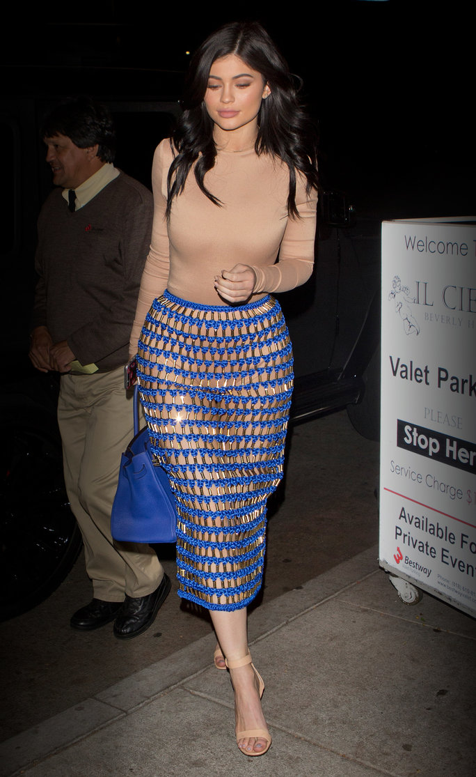 Kylie Jenner Shows Off Her Curves in a Sexy See-Through Netted Skirt on Date Night