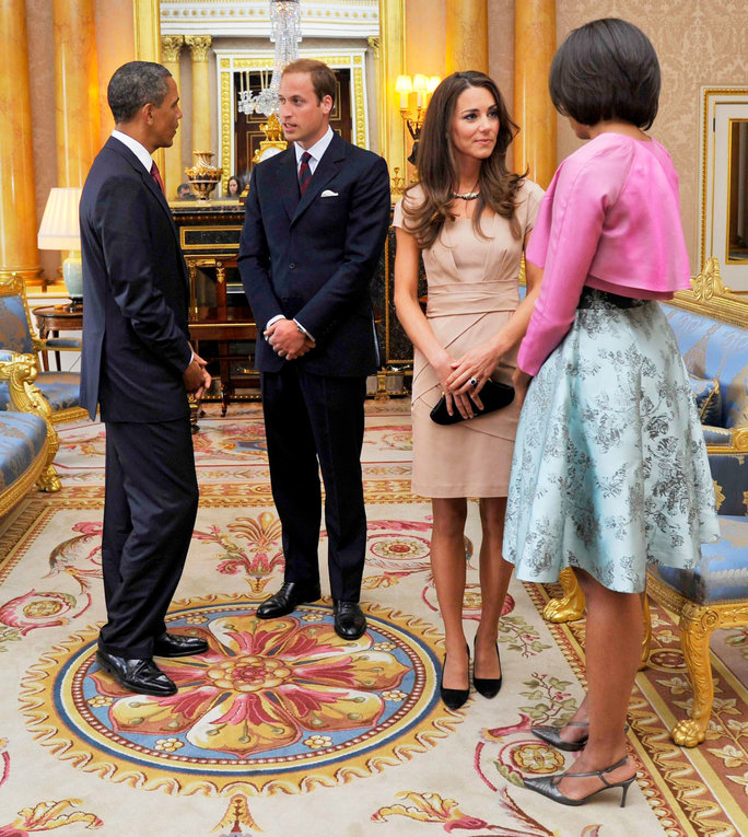US President Barack Obama and First Lady Michelle Obama, Prince William, Kate Middleton - May 24, 2011