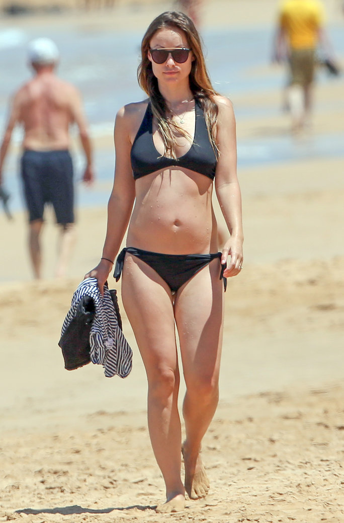 Olivia Wilde Puts Her Barely-There Baby Bump on Full Display in Simple Black Bikini