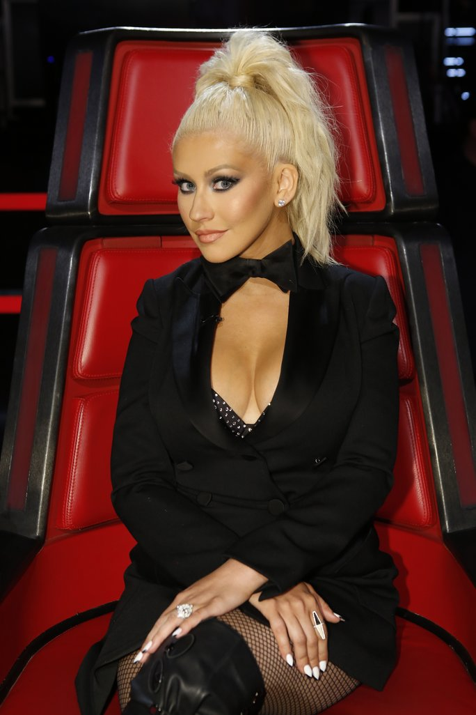 "THE VOICE -- ""Live Top 11"" Episode 1014B  -- Pictured: Christina Aguilera -- (Photo by: Trae Patton/NBC/NBCU Photo Bank via Getty Images)"