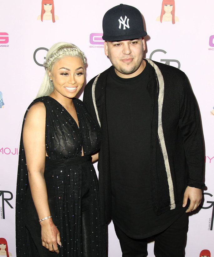HOLLYWOOD, CA - MAY 10:  Model Blac Chyna and Rob Kardashian attends Birthday Celebration And Unveiling Of Her  Chymoji  Emoji Collection at Hard Rock Cafe, Hollywood, CA on May 10, 2016 in Hollywood, California.  (Photo by Leon Bennett/FilmMagic)