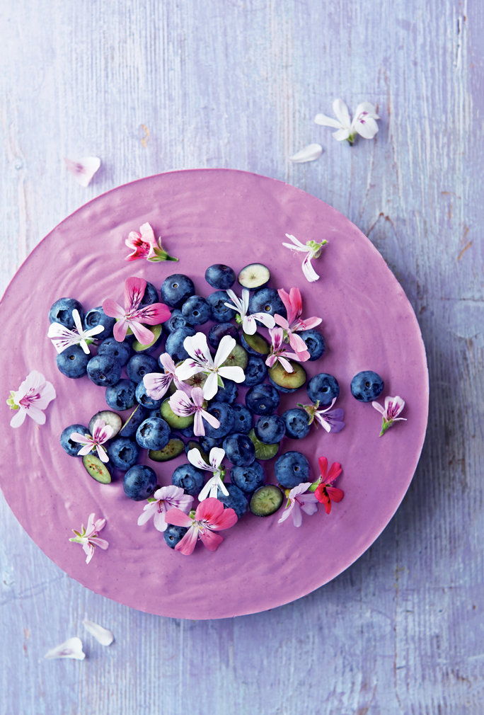 BLUEBERRY LEMON MOUSSE CAKE WITH SCENTED GERANIUM FLOWERS