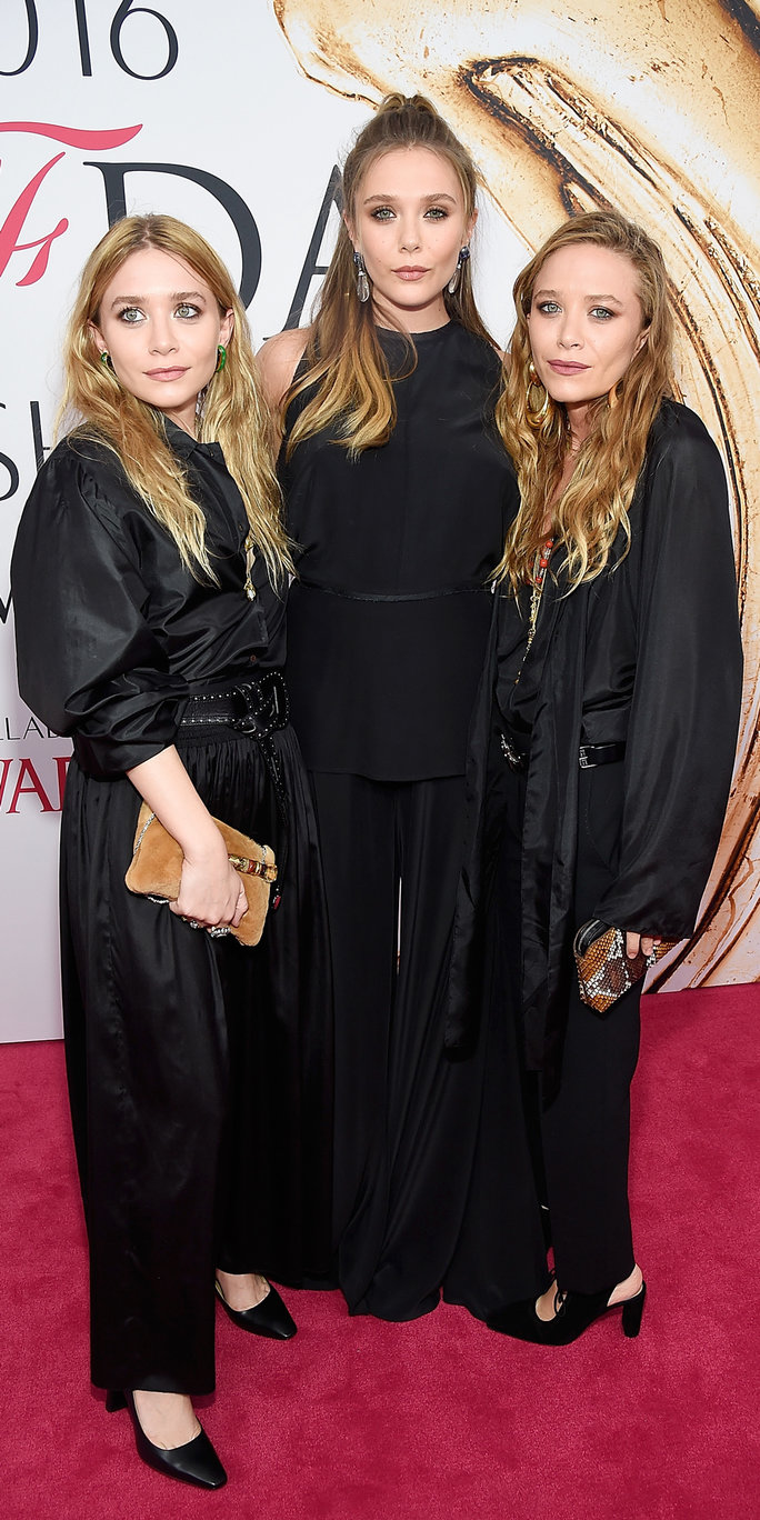 Ashley Olsen, Elizabeth Olsen and Mary-Kate Olsen attends the 2016 CFDA Fashion Awards at the Hammerstein Ballroom on June 6, 2016 in New York City.