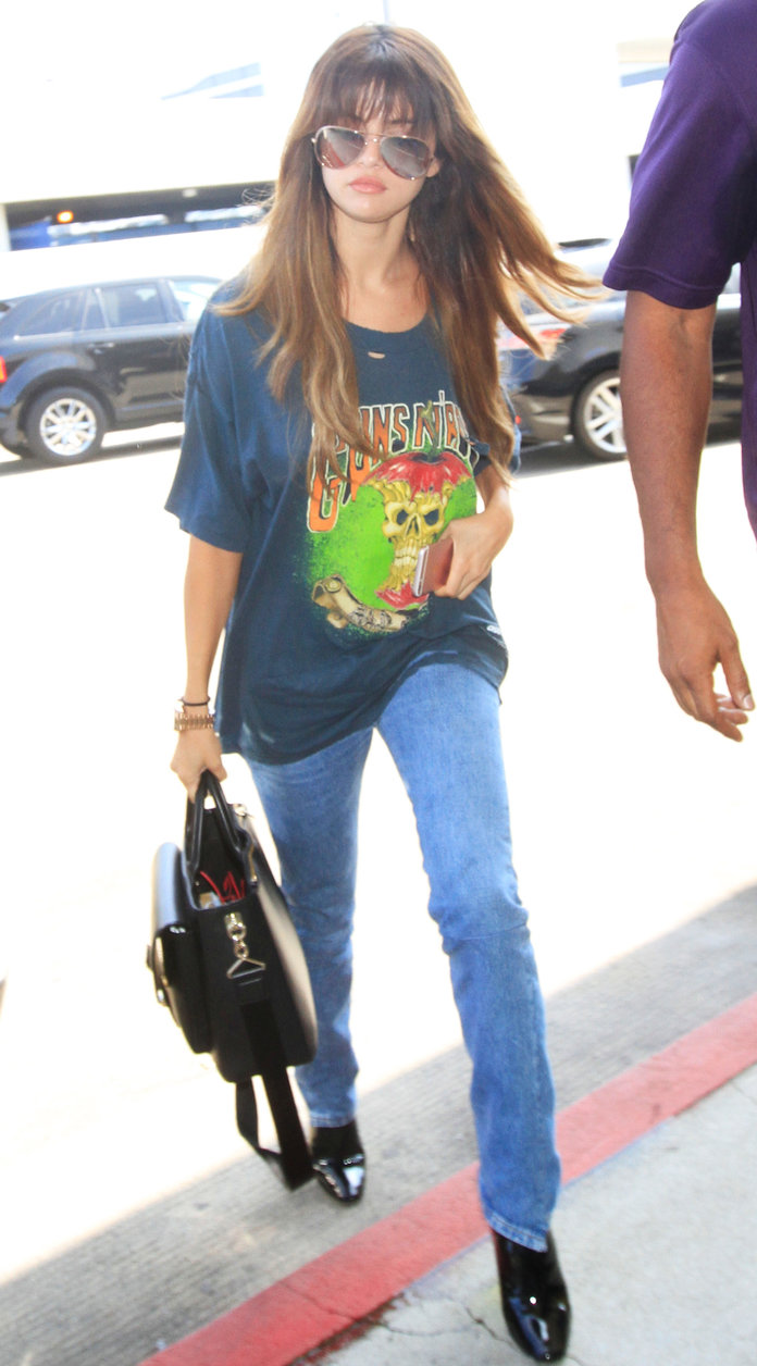 Selena Gomez Channels Her Inner Rockstar in a Grunge Look at LAX Airport