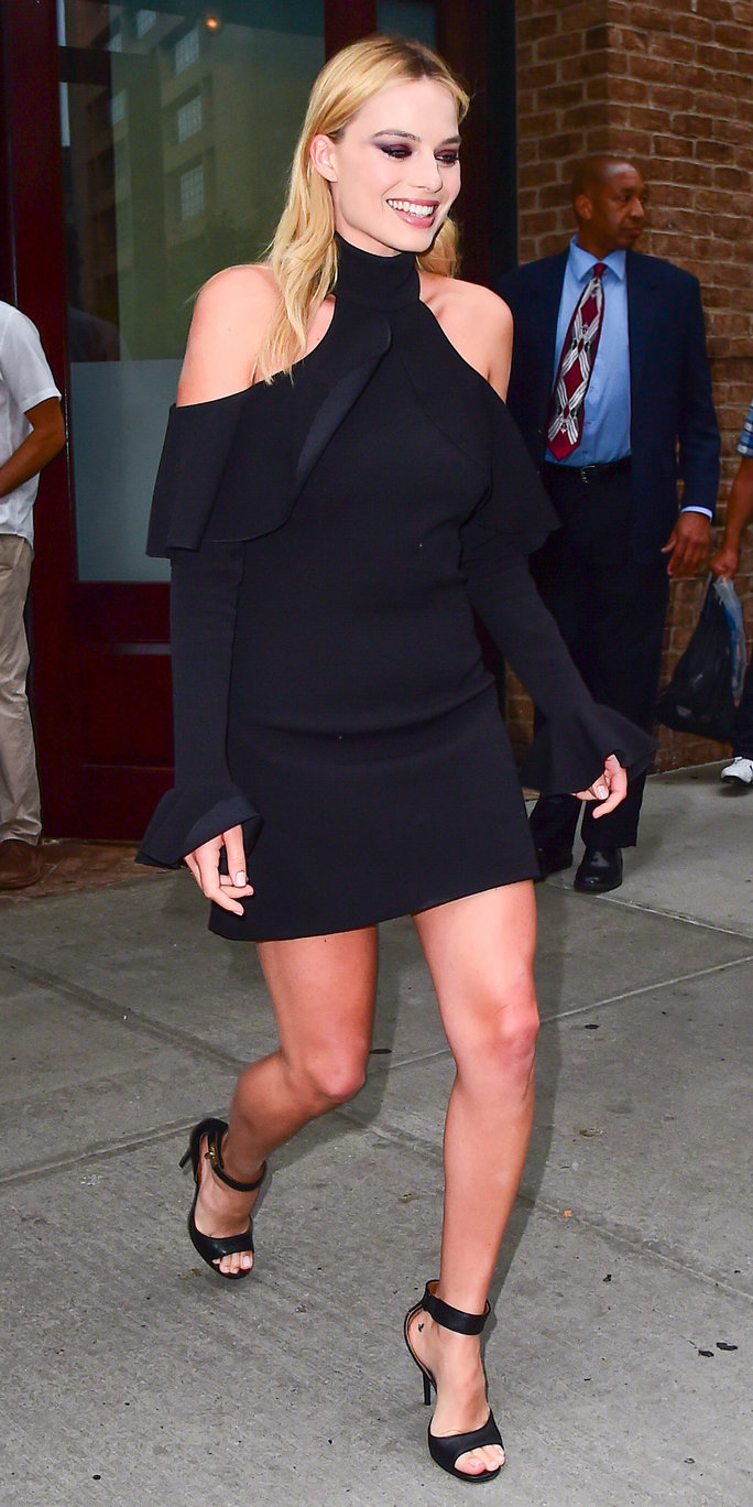 Margot Robbie Delivers Date Night Outfit Inspiration in a Chic Off-the-Shoulder LBD