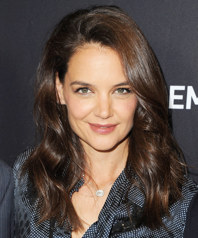 """HOLLYWOOD, CA - APRIL 25:  Actress Katie Holmes arrives at For Your Consideration Screening And Panel For Showtime's """"Ray Donovan"""" at Paramount Theatre on April 25, 2016 in Hollywood, California.  (Photo by Jon Kopaloff/FilmMagic)"""