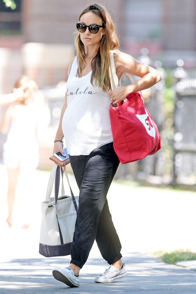 Olivia Wilde's Latest Maternity Look Includes a Graphic T-Shirt and Converse Sneakers