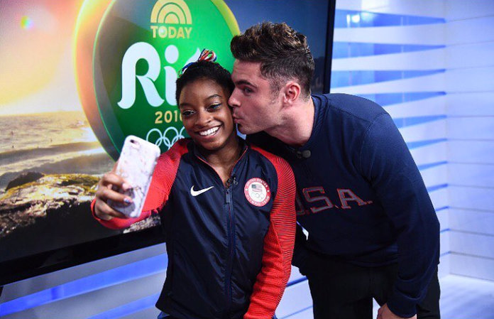 """<p>And then he totally """"fangirled"""" over Simone Biles.</p>"""