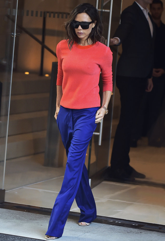 Victoria Beckham Makes a Bold Statement in a Jewel-Hued Ensemble During NYFW