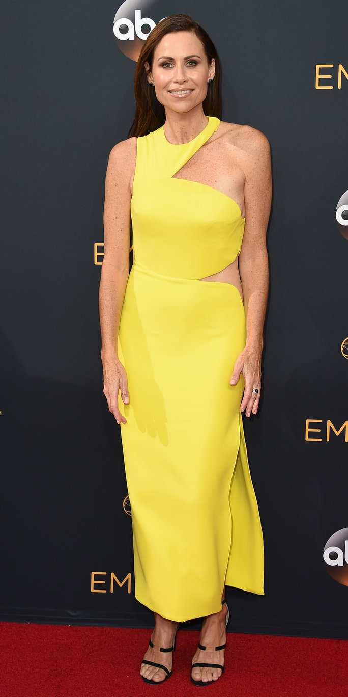 Minnie Driver arrives at the 68th Primetime Emmy Awards on Sunday, Sept. 18, 2016, at the Microsoft Theater in Los Angeles. (Photo by Jordan Strauss/Invision/AP)
