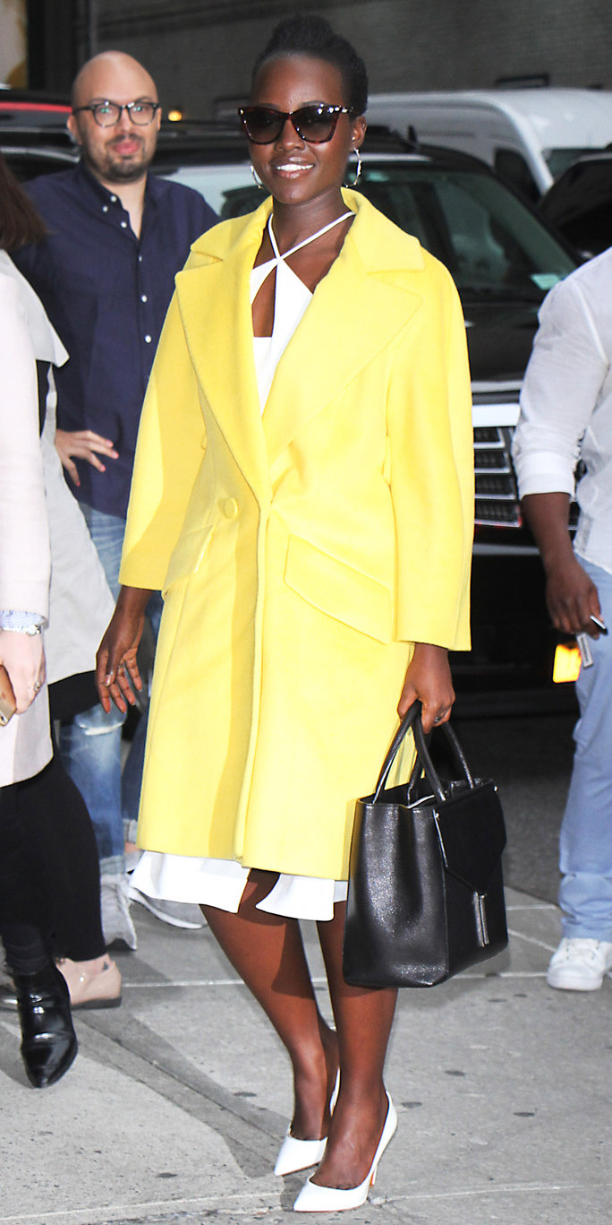 September 28, 2016: Lupita Nyong'o spotted as she appears on the 'Late Show with Stephen Colbert' to talk about her new movie 'Queen of Katwe' in New York City, New York.Mandatory Credit: Roger Wong/INFphoto.com Ref: infusny-146