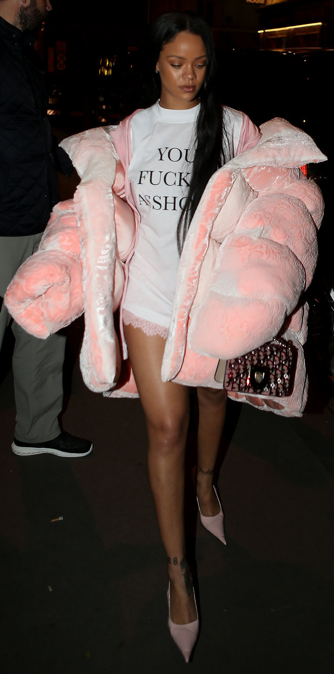 Rihanna Makes a Bold Statement in a Larger-Than-Life Pink Puffer Coat and Racy Tee