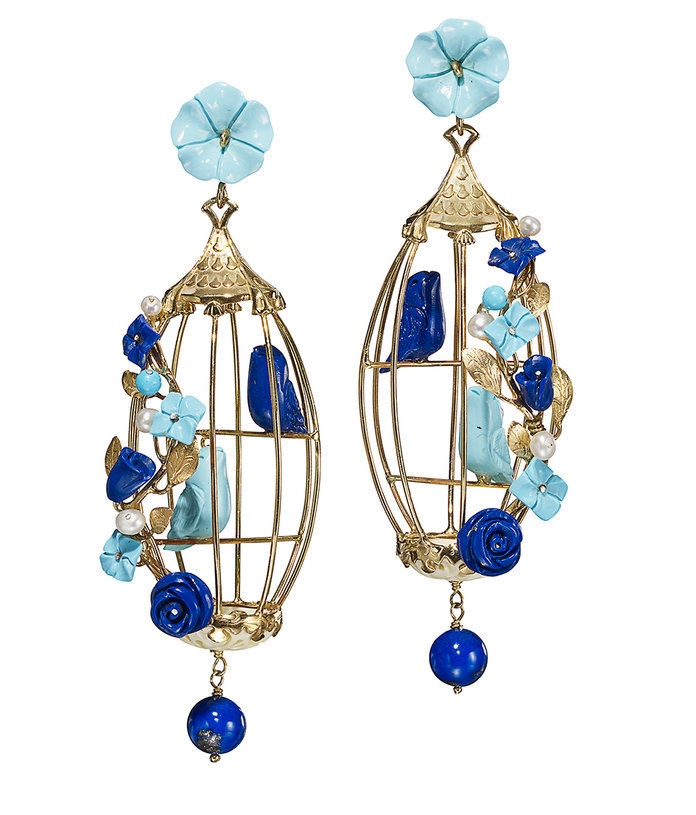 <p>Lovebird Earrings in Turquoise and Lapis</p>