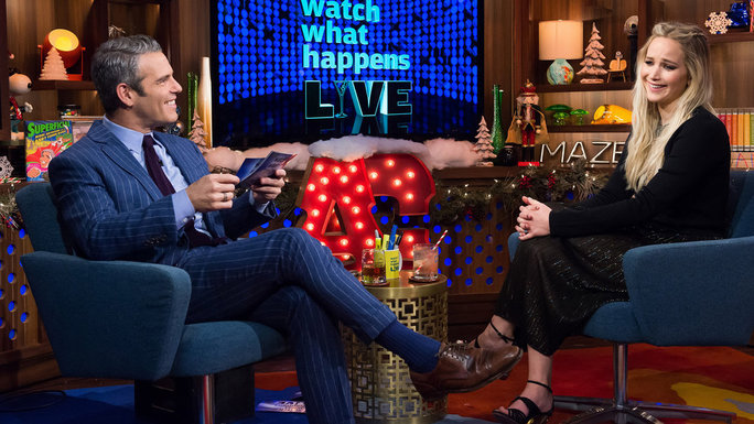 WATCH WHAT HAPPENS LIVE -- Episode 13208 -- Pictured: (l-r) Andy Cohen, Jennifer Lawrence -- (Photo by: Charles Sykes/Bravo)