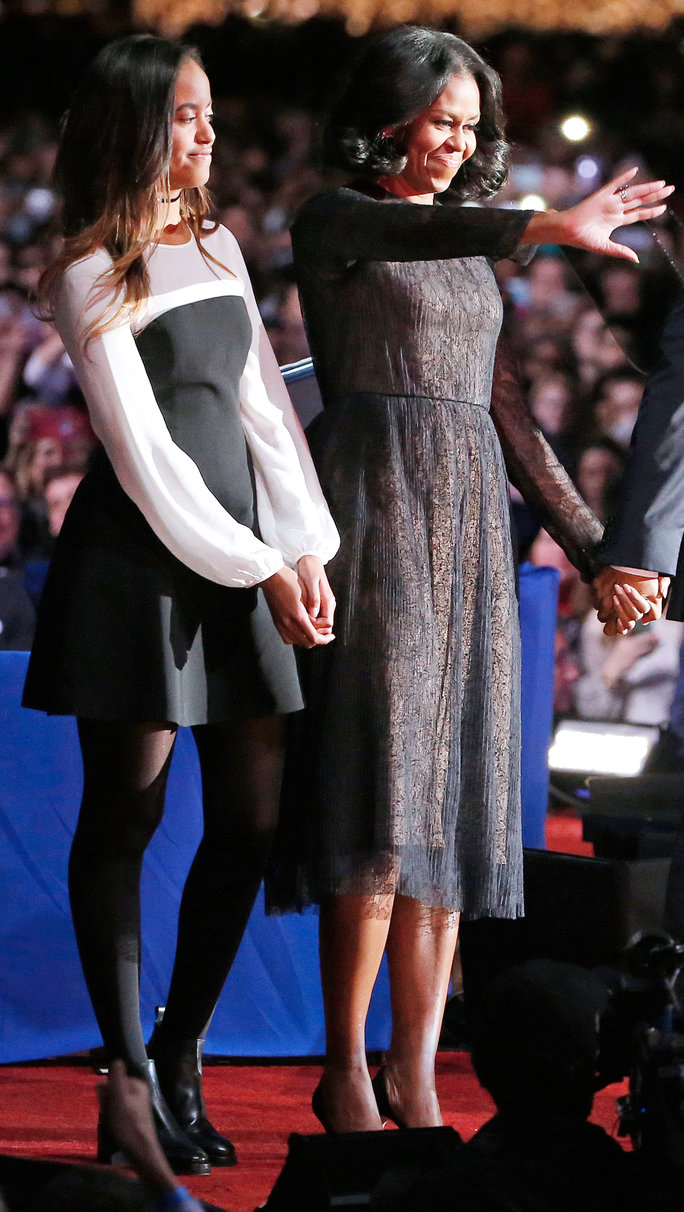 First Lady Michelle Obama and daughter Malia Obama