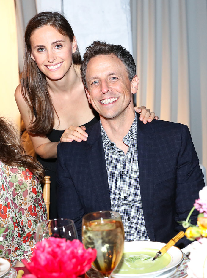 <p>Seth Meyers and Wife</p>