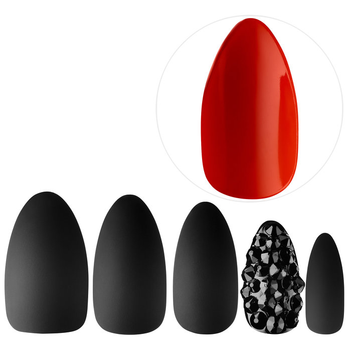"<p><a href=""http://staticnails.com/"" target=""_blank"">Static Nails</a> All In One Pop-On Manicure Kit in Red Bottoms</p>"